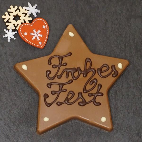 """Stern Edelvollmilch Schokolade """"Frohes Fest"""""""