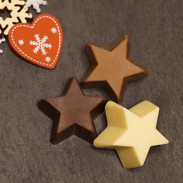 Sterne in 3 Schokoladen Sorten