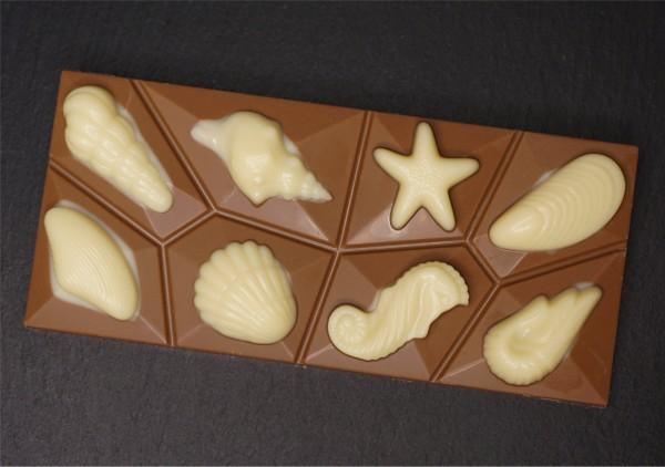 Meeresfrüchte Tafel mit Edelvollmilch Schokolade