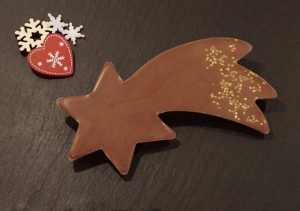 Sternschnuppe aus Edelvollmilch Schokolade