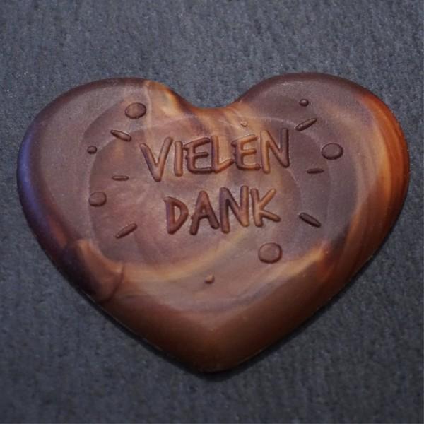 Vielen Dank Herz aus Marmorierte Schokolade